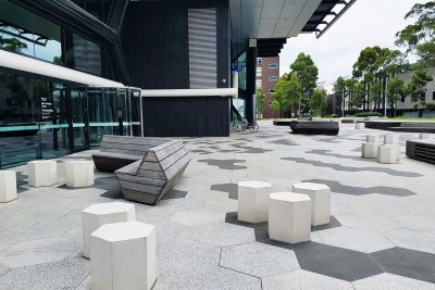 SVC Hex bollard seats at Monash Clayton's Greener Chemical Future building