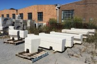 Precast concrete seat modules stacked on pallets