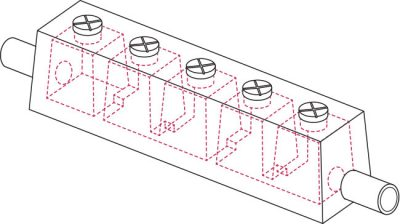 Isometric wireframe view of SVC's MC2 Multi-Cell device, showing the internal cells within the concrete casing.