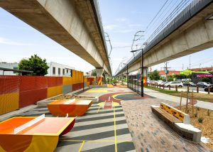 SVC concrete bench modules with brick inlay at the new linear park at Carnegie Station.