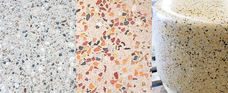 A visual comparison of the differing textures of blasted, honed and polished concrete surfaces.