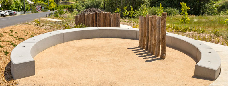 Curved concrete modules form a long bench seat in Daylesford.