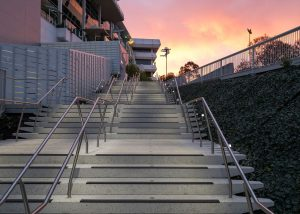 Sunset at the Flemington Racecourse Colours Stairway | Custom concrete stair treads by SVC Products