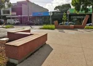 Bold red bench seats in the Beaumaris Concourse Streetscape Upgrade | SVC Urban