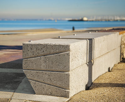 Bespoke geometric concrete bench at St Kilda Foreshore | SVC Urban